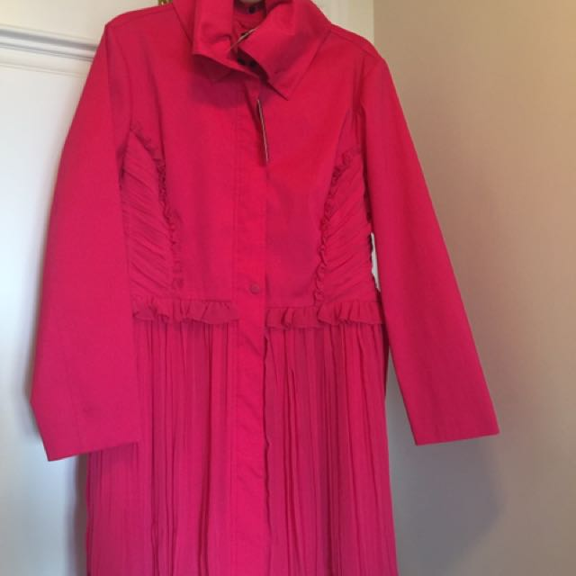Samuel Dong Ladies Fuchsia Trench Embellished XL