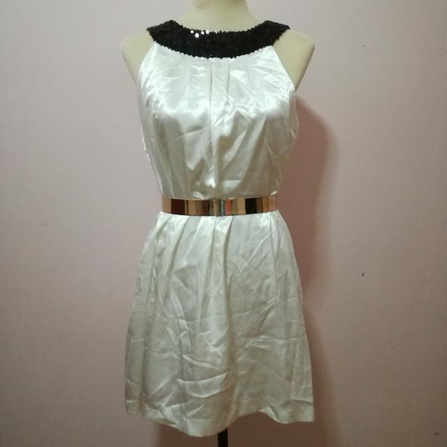 Sequin Collar Satin Dress
