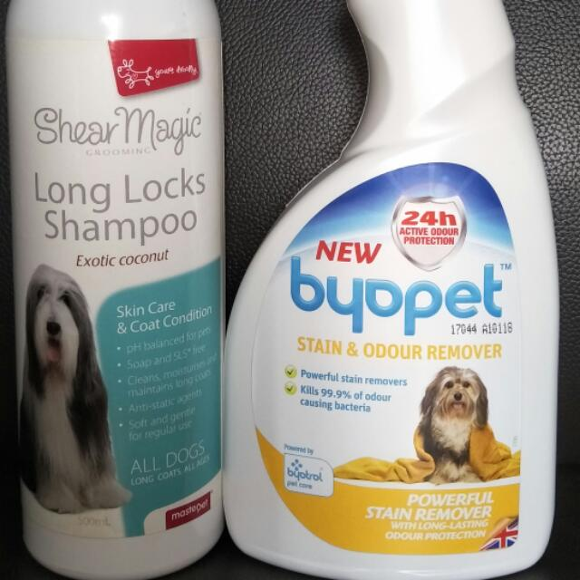 Shear Magic Dog Shampoo Exotic Coconut And Byopet Stain & Odour Remover Spray