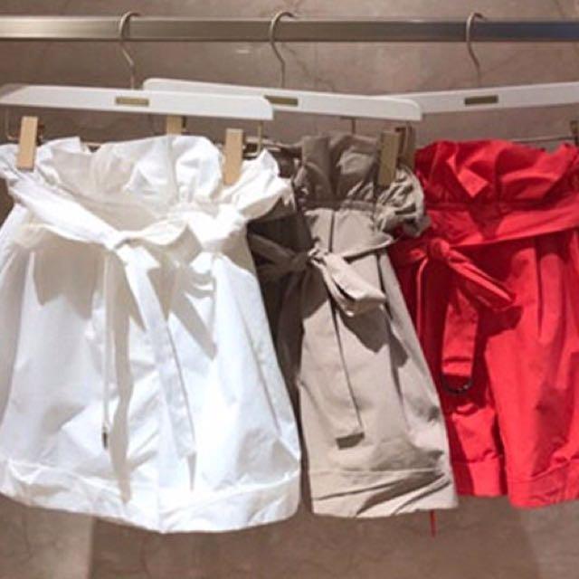 Shiuan H. in JP 2017 8月日本帶回夏季新款lilybrown蝴蝶結腰帶高腰棉質南瓜燈籠短褲闊腿短褲