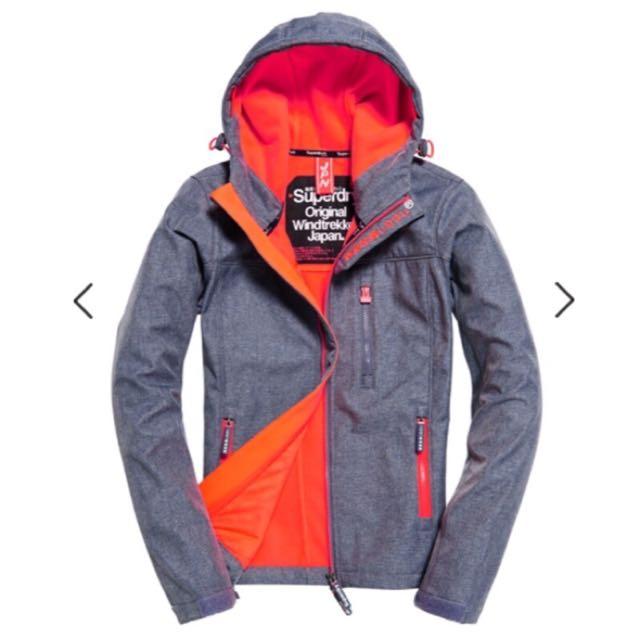 降價!全新Superdry極度乾燥外套夾克防風連帽夾克運動防水機能旅行拉鍊保暖