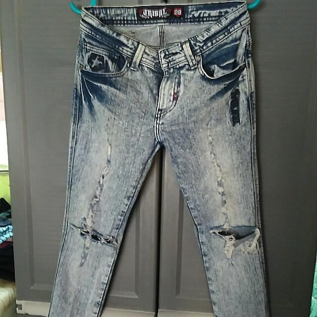 Tribal Ripped Acid Washed Pants