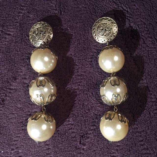 Vintage Long Pearl Earrings