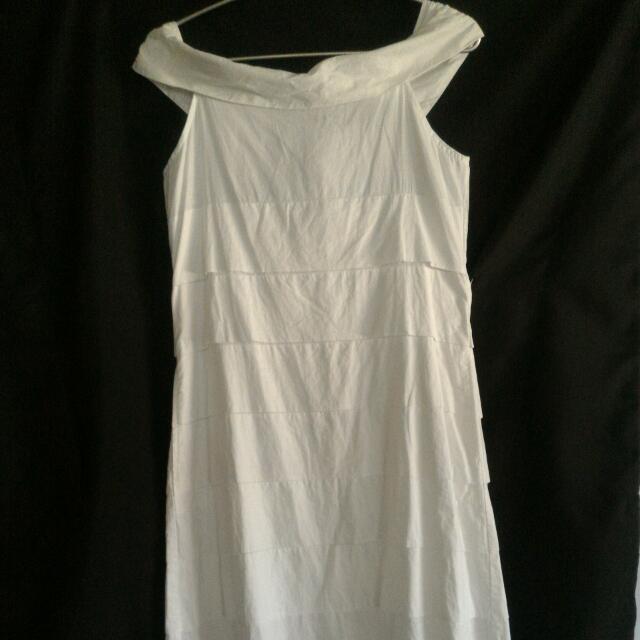 White Off-shoulder Dress from Plains & Prints