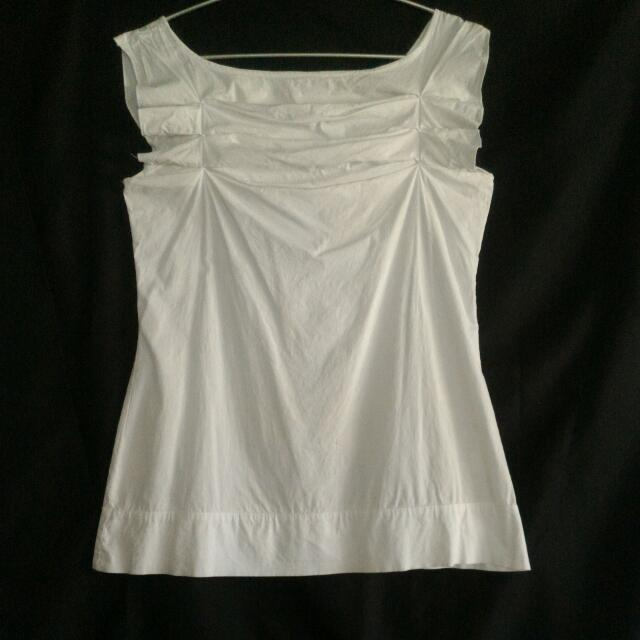 White Plains & Prints Sleeveless Blouse with Origami Pleats