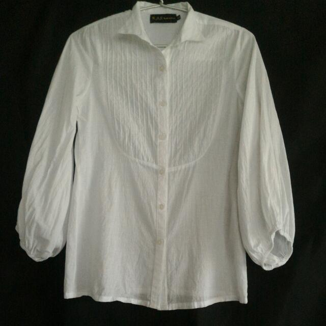White R.A.F Plains & Prints Blouse with Bishop Sleeves