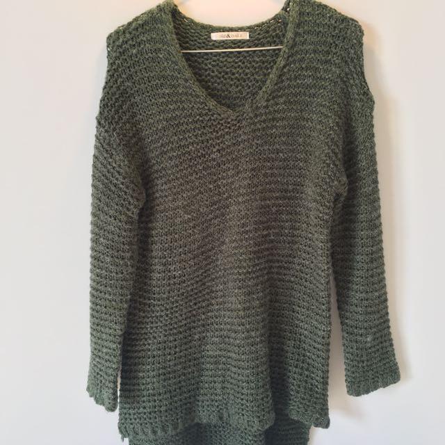Winter Sweater In Dark Green