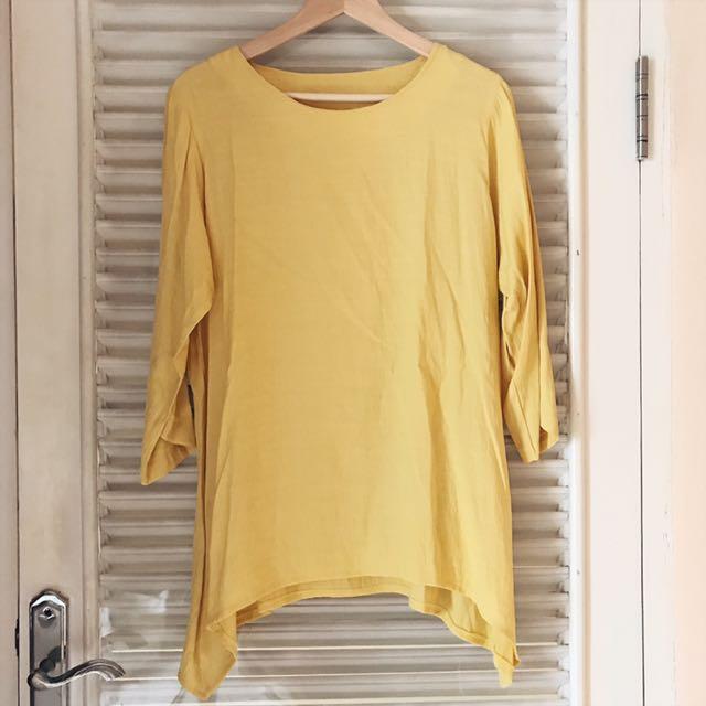 Yellow Semi Long Sleeve Blouse