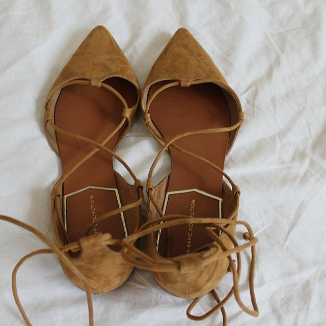 Zara Tan (suede) Lace Up Flats