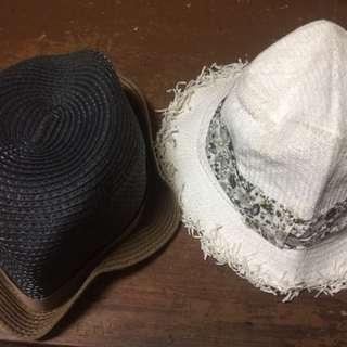Brown Fedora Hat & White Fedora Hat