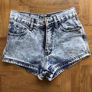 Acid Wash Curved Shorts