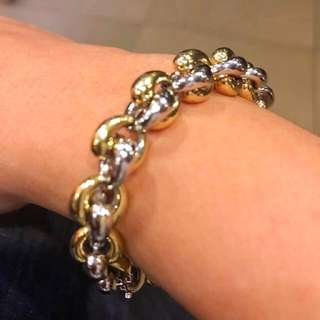 18K Two-Tone Hollow Links Bracelet (Rare Design)