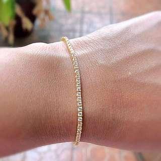 Genuine 14K Yellow Gold Tennis Bracelet
