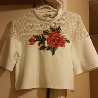 Fashion Nova Mesh Crop Top With Embroidered floral Design