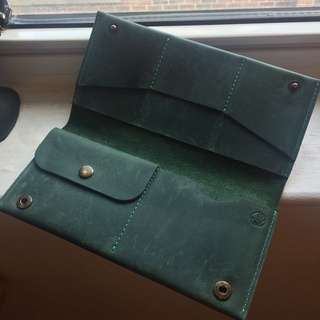 Long Green Wallet (Real Leather)