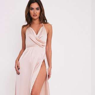 Pretty Little Thing: Lucile Champagne Silky Plunge Extreme Split Maxi Dress