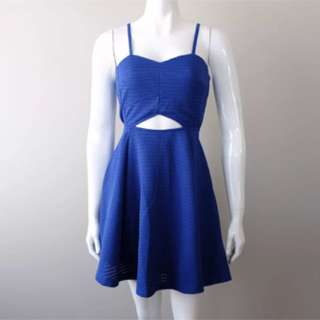 Passio Fusion Skater Dress Blue Cutout Mini XS S M L 6 8 10 12