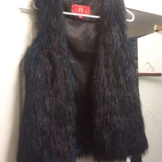 Black/blue Fur Vest