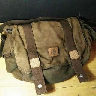 Tas Selempang / Messenger Bag BLOODS kanvas + kulit vintage looks