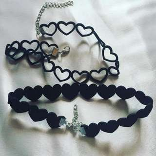 Velvet Choker Love Heart