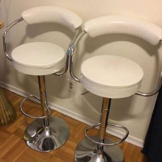 Two Stainless Bar Stools