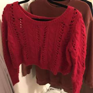 Hollister Red Cropped Knit Sweater