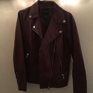 Maroon Faux Leather Rebel Jacket - Forever 21