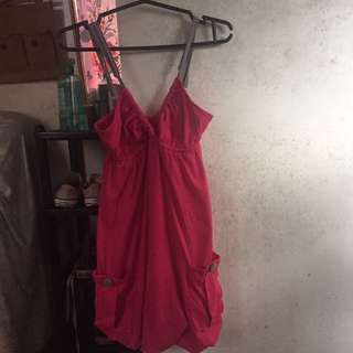 Red Head Pink Top Or Mini Dress