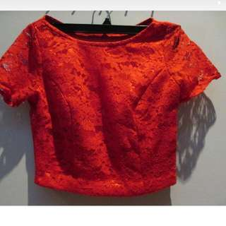 Red Brokat Crop Top