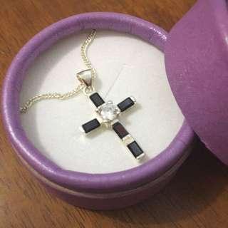 Sterling Slive Stone Cross Necklace