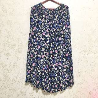 Floral Maxi Skirt In Navy Blue