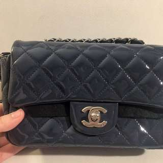 Quilted blue Channel leather crossbody pouch