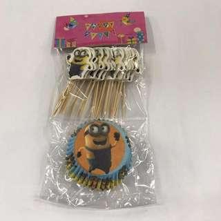24pcs Minion Cupcake Liner w/ Toothpick