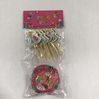 24pcs Barbie Cupcake Liner w/ Toothpick