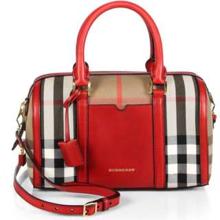 Women's Red Medium Alchester Bridle House Check Bag