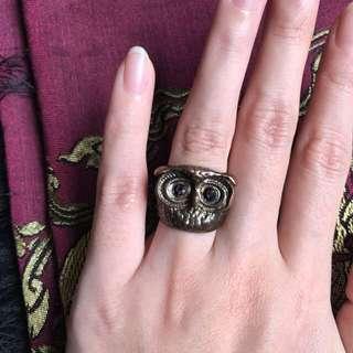 Owl Face Ring / Cincin