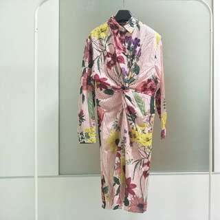 Floral Stripe Shirt Dress Tropical Print Twist Detail