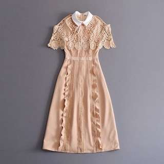 BN Self Portrait Lace Panel Cape Remake Dress In Nude (RRP $450)