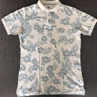 UNIQLO Floral Polo Shirt Large
