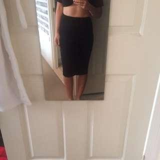 Bardot Black Ruched Midi Skirt