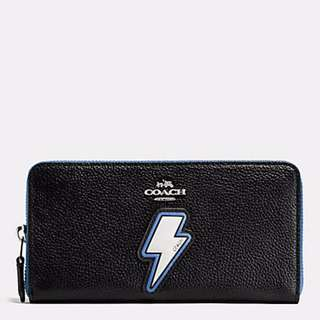 Authentic Coach F59336 Lightning Bolt Accordion Zip Wallet In Pebble Leather with Two Tone Zipper Purse