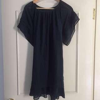 Basic House 雪紡靛藍洋裝