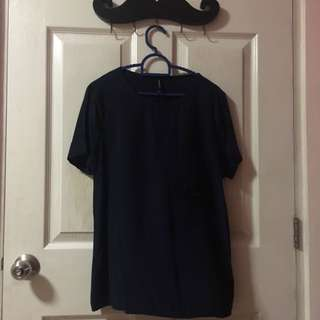 Stradivarius Navy Blue T-shirt (Small)
