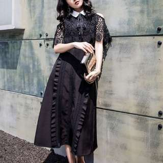 BN Self Portrait Lace Panel Cape Remake Dress In Black (RRP $450)