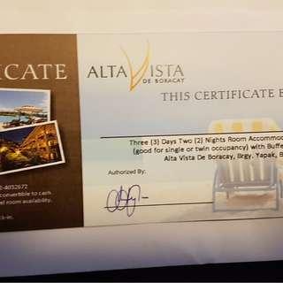 Alta Vista De Boracay Gift Certificate