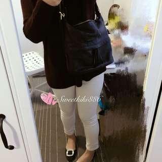 Black Genuine Leather Two Way Shoulder/backpack Bag