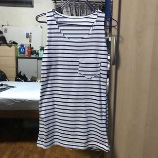 Navy Blue Striped Long Tank Top