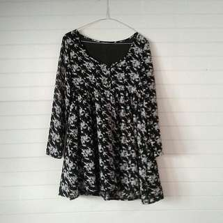 Long Sleeve Floral Mini Dress