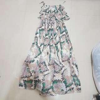 ⬇繼續五折#女裝五折出清  南洋風渡假雪紡長洋裝