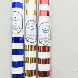 Wrapping paper blue gold red foil stripes design